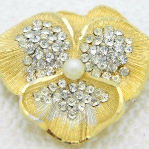 BSK B.S.K. Signed Gold Tone Clear Rhinestone Pin